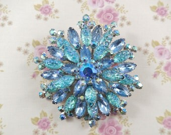 Vintage Large 50s Blue Rhinestone and Art Glass Flower Brooch Pin