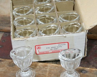 Set of 12  Mid-Century Chemistry Glass Eye Washing Cups
