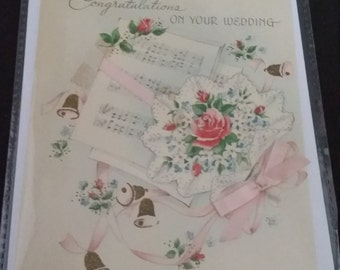 Vintage  reworked wedding 50's card