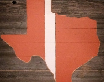 """Texas, Burnt Orange and White, (28"""" X 20""""), Rustic Reclaimed, Man Cave, Home Decor"""