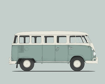 classic car volkswagen vw t1 van retro cars illustration drawing art print poster classic cars illustration serie