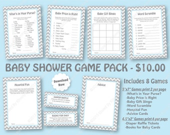 Blue Gray Baby Shower Game Pack -70% OFF SALE -PRINTABLE Boy Shower Games-8 Pack -L Gray Pastel Blue Baby Shower Chevron Party Diaper C22-15