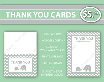 80% off SALE Elephant THANK YOU Cards -Elephant Baby Shower -Gray & Mint Printable Baby Shower Decorations- Light Gray Seamfoam Green Party