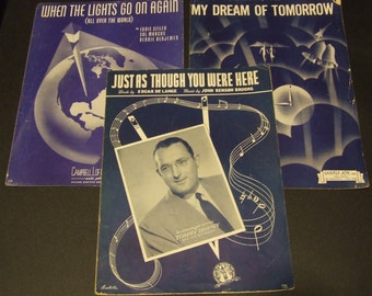 Vintage Sheet Music 1940's,Tommy Dorsey, Wall Decor, Music Room Decor, Theater Room Decor, Just as Though You Were Here, My Dream Tomorrow