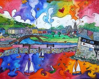 Aberaeron ~ Colourful ~ Lliwgar print from original artwork by Welsh artist Rhiannon Roberts