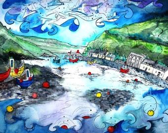 Fishguard ~ Harbour Memories ~ Atgofion yr Harbwr Abergwaun print from original artwork by Welsh artist Rhiannon Roberts