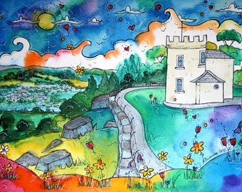 Y Kymin - Magical View print from original artwork by Welsh artist Rhiannon Roberts