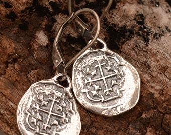 Spanish Coin Earrings, Sterling Silver Reale Earrings, Atocha Coin Earrings, on Lever Backs