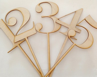 1-13 Laser Cut Wood Table Numbers/Table Markers