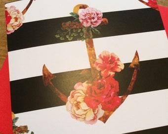 Floral Anchor / Blank Card