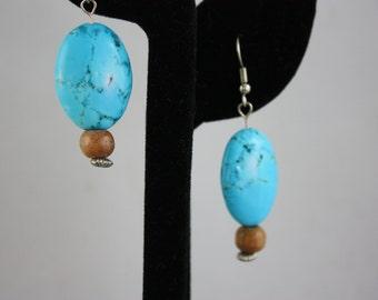 earrings, turquoise earrings, blue earrings, blue and brown earrings, turquoise oval earrings, handmade jewelry