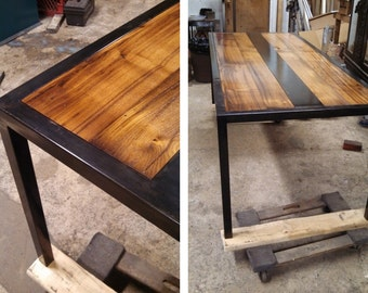 Reclaimed Wood and Steel Table