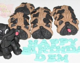 12x Edible 2D Pug Faces 1x 3D Pug Dog 8-10cm Wording Fondant Cake Cupcake Toppers