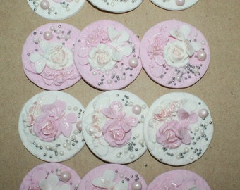 Cupcake Fondant Decorations Toppers12x Edible, Vintage Shabby Chic Birthday