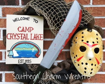 "18"" Burlap Camp Crystal Lake Jason Voorhees Friday the 13th Halloween Wreath"