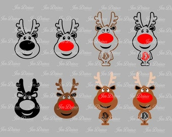 Reindeer SVG DXF EPS, reindeer files, christmas svg, christmas files, svg for cricut, silhouette file, cutting files, red nose reindeer