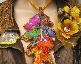 Colors of autumn, Large leaf  beads embroidered, Romantic boho neclace, colorful pendant, gypsy style, hippie, boho