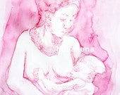Watercolor breastfeeding mother clipart, breastfeeding mother and child clipart, breastfeeding mom clipart, watercolor clipart, breastfeed