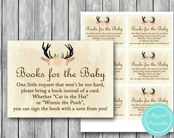Books for the Baby Card, Bring a book instead of a card insert, bring a book baby shower insert, Rustic Baby Shower, Country TLC21