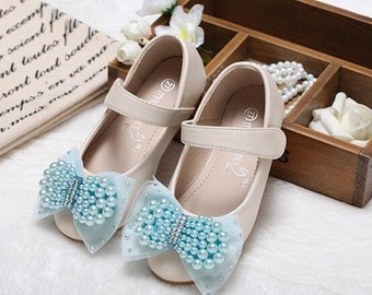 Blue Bow Toddler Shoes Girls Mary Janes Shoes Light Blue Pearls Lace Ribbon