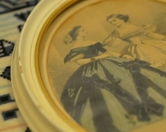 1800s Women Painting in Oval Frame