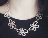 Flower necklace/ boho flower necklace/ boho necklace/ flower charm necklace /boho necklace/hippie necklace/ sterling silver necklace