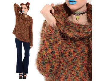 Vintage 90s Club-Kid SHAGGY Rainbow Fuzzy Soft Grunge Furry Monster Knit Rave Cowl Neck Sweater Turtleneck Top S M *Free Shipping U.S* vtg