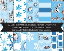 70% OFF Olaf Snowman Digital Papers - Frozen, Disney, Snowflake, Winter, Blue, White, Polka Dot, Elsa, Anna, Snow, Flower, Stripe, Printable