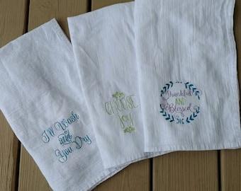 Embroidered kitchen flour sacks, personalized kitchen, embroidered kitchen towel