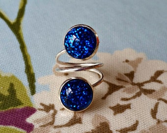 Sparkle Spiral Ring - Glitter Ring, statement ring, sparkly jewellery, fashion jewelry, colour pop, wrap around ring