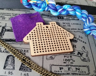 Stitchable Necklace Kit, adult craft kit, embroidery set, DIY, make your own, stitching materials