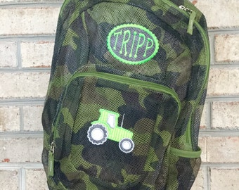 Monogrammed Backpack | Mesh Backpack | Back to School | Tractor  Backpack | Boys Backpack | Mesh Backpack | Embroidered Mesh Backpack