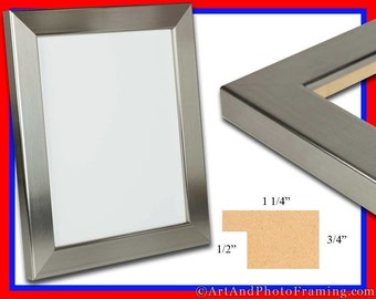 stainless silver picture frame 125 wide photo frame flat eco friendly 4x6 5x7 8x10 85x11 12x12 11x14 12x12 13x19 16x20 custom sizes