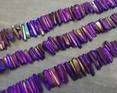 """Polished Titanium Crystal points Purple Crystal Quartz point Beads Bulk Crystal Stick beads top drilled full strand 15.5"""" 3-7*15-35mm"""