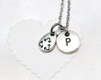 Personalized Recycle Necklace   Initial Necklace   Tiny Recycle Symbol Necklace   Silver Recycle Symbol Charm   Initial Charm   Monogram