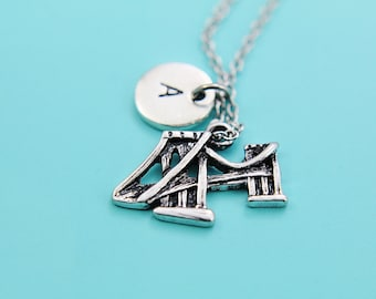 Silver Brooklyn Bridge Charm Necklace Brooklyn Bridge Charm with Personalized Initial Letter Charm on Silver Chain Necklace Gifts Ideas
