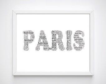 Paris Art For Wall, Paris Printable Wall Art, Paris Art Prints, Typography Paris Prints, Paris Word Art, Home Decor, French Wall Art,