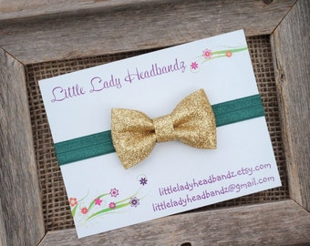 Emerald green and gold headband sparkle glitter bow baby headband infant toddler
