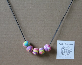 Rainbow Swirl Bead Necklace