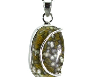 Ocean Jasper Pendant, 925 Sterling Silver, Unique only 1 piece available! color green, weight 6.8g, #28773