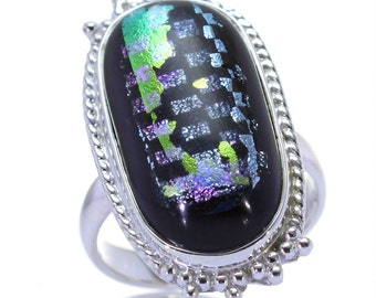 Dichroic Glass Ring, 925 Sterling Silver, Unique only 1 piece available! SIZE 7 (inner diameter 17.33mm), color black, weight 7.4g, #3146