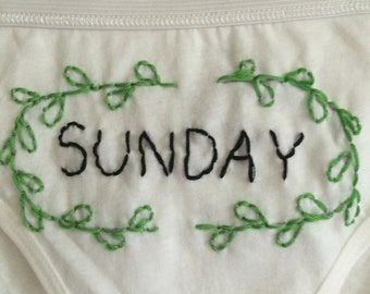 Day-of-the-Week panties // hand-embroidered // customizable!