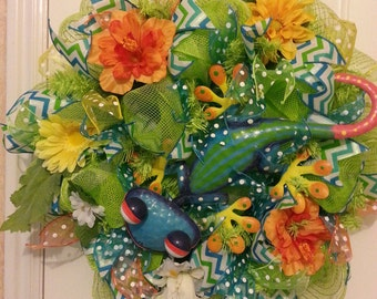 Summer Gecko Mesh Wreath