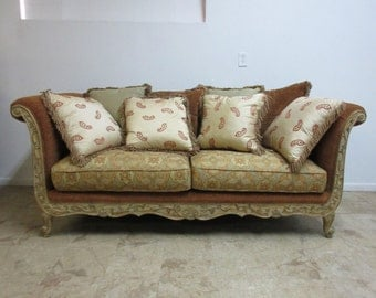 Drexel French Carved Distressed Paint Oversized Sofa Couch Love Seat Louis XV
