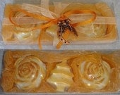 Gold Christmas Gift Set with Luxury Scented Soaps in Beige-Gold-Peachpuff and Christmas Charm For Good Luck, New year charm