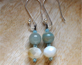 Amazonite & Cream Dangle Earrings, Teal Dangle Earrings