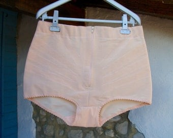 Vintage Panty Girdle in Nude with Zipper in XL Size