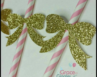 12 Glitter Bow Party Straws, Baby Girl Party Straws
