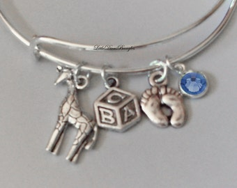 Giraffe  / Block / BABY Feet  Charm W/ Birthstone / New Mother Adjustable Silver Bangle  / Baby Shower Gift  - Under 20  USA -  NM1