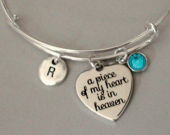 A Piece Of My HEART Charm Bracelet W/ Birthstone Drop / INITIAL Memorial Bangle  / Lost Of A Love One / Gift For Her - Usa P1